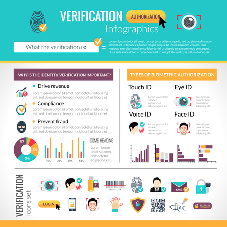 identity protection: Verification infographics set with identity protection symbols and charts vector illustration