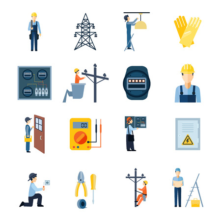 installation: Flat icons set of repairmen electricians handymen figures and electric equipments isolated vector illustration