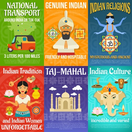 india culture: India poster mini set with national transport religions and culture isolated vector illustration