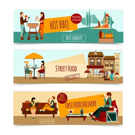 pareja comiendo: Gente comiendo banner horizontal establece con aislado bbq comida de la calle ilustración vectorial Vectores