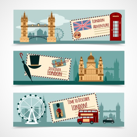 london tower bridge: London touristic banner horizontal set with landmarks isolated vector illustration