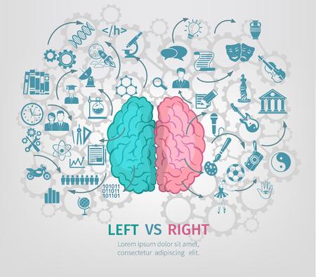 cerebro blanco y negro: Concepto Cerebro humano con la ilustración vectorial plana hemisferios izquierdo y derecho