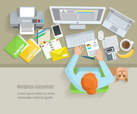 desk job: Accounter top view workplace with woman sitting and working objects flat vector illustration