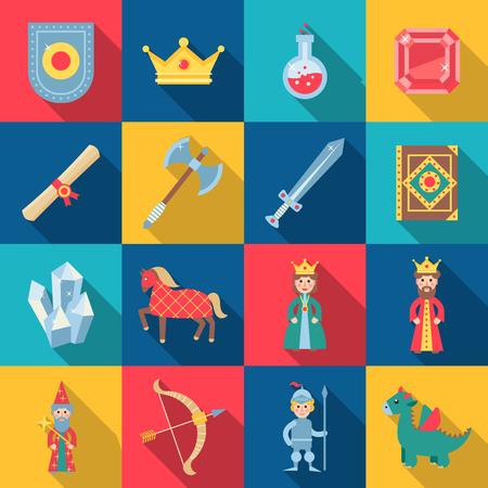 盾剣王冠の宝石分離ベクトル イラストを入りおとぎ話ゲーム  イラスト・ベクター素材