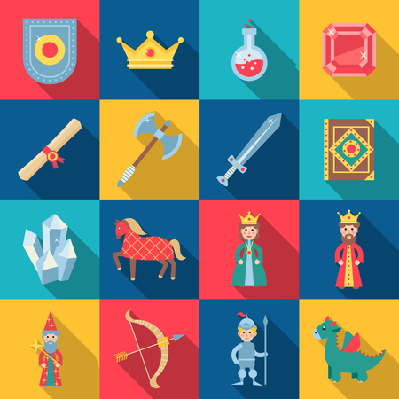 tale: Fairytale game set with shield sword crown gems isolated vector illustration