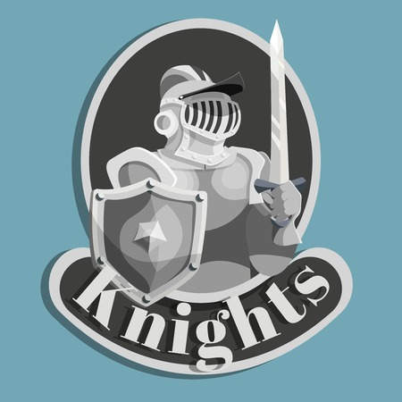 silver coins: Silver color metal emblem with medieval knight with shield and sword vector illustration
