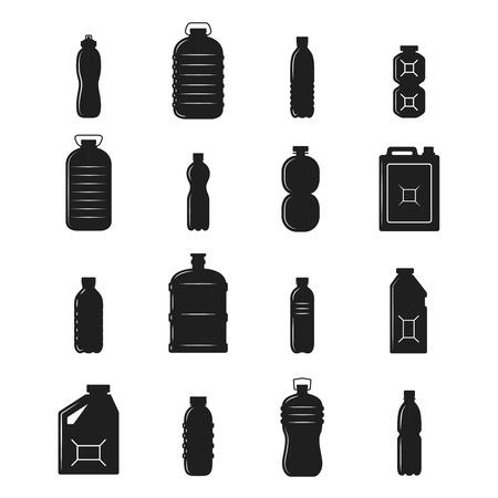 envases plasticos: Contenedores de botellas de plástico y las siluetas negras conjunto aislado ilustración vectorial Vectores