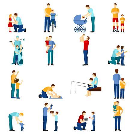 padres: Iconos planos paternidad establecen con padre jugando con los niños aislados ilustración vectorial. Vectores