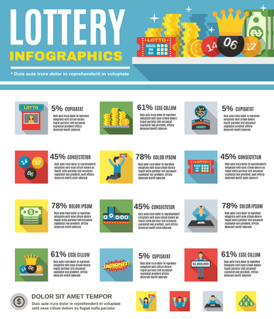 Lottery infographics set with happy people winning jackpot vector illustration