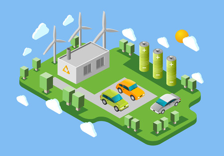 swaps: Electric cars public charging station isometric banner with green energy facilities and battery swaps abstract vector illustration Illustration