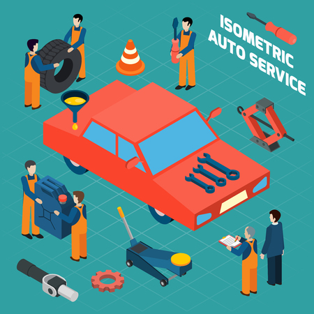 workwear: Auto service  isometric icons set with red car people in workwear spare parts and tools  isolated vector illustration