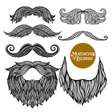手描き黒装飾的なひげと口ひげホワイト バック グラウンド分離ベクトル図の設定