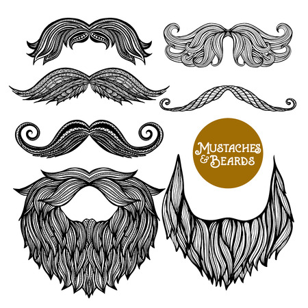 male hand: Hand drawn black decorative beard and mustache set on white background isolated vector illustration Illustration