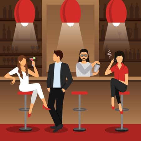 남성과 여성 칵테일 음료 평면 벡터 일러스트와 함께 앉아 막대 카운터 일러스트