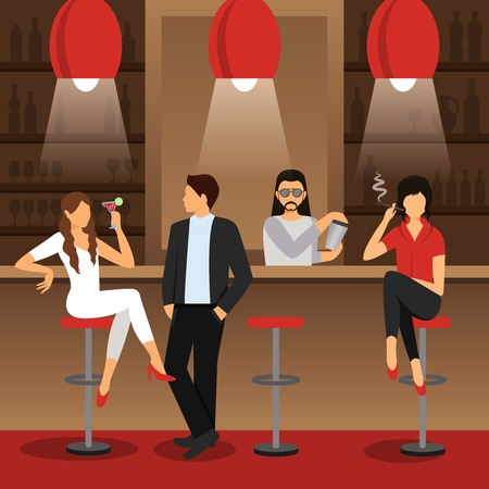Bar counter with males and females sitting with cocktail drinks flat vector illustration