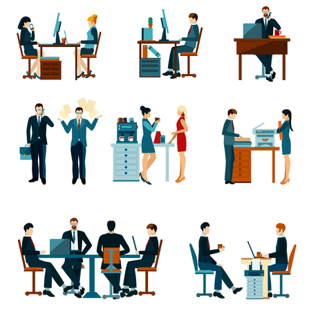 business meetings: Office worker icons set with business people workflow elements isolated vector illustration