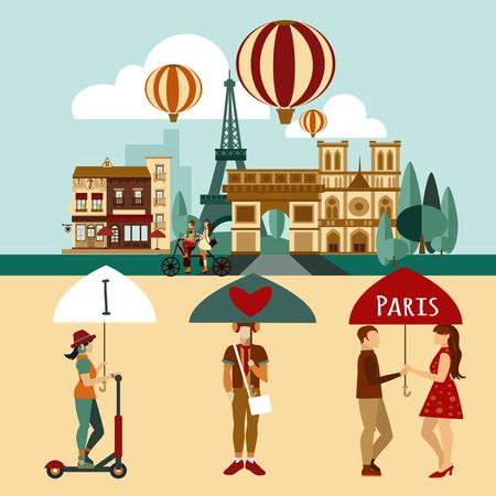 famous people: Paris touristic set with famous landmarks and tourist people vector illustration