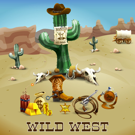 lasso: Wild west realistic background with cactus gold lasso and desert vector illustration
