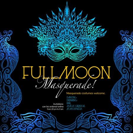 balle affiche d'invitation de partie de mascarade avec un style rétro masque vénitien sur fond sombre illustration vectorielle Vecteurs