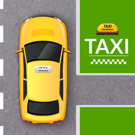 bird's eye view: Public transportation company taxicab in the street top view from above flat pictogram abstract vector illustration