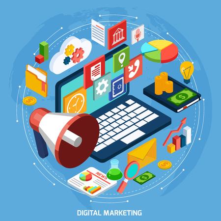 digital illustration: Startup isometric concept with 3d notebook and digital marketing symbols vector illustration
