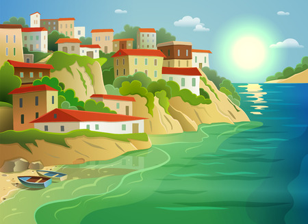picturesque: Picturesque coastal living village cottages on steep island shore decorative poster with fishing boats abstract vector illustration