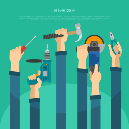 construction crew: Long hands holding housework and repair tools flat vector illustration Illustration