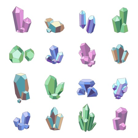 Crystal minerals and quartz glass icons set isolated vector illustration Illustration