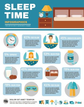 bedroom bed: Sleep time infographic set with bedroom interior symbols vector illustration