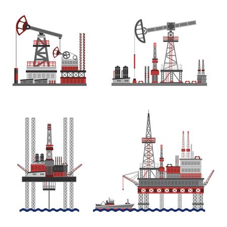 plataforma: Extracción de petróleo y de la plataforma de petróleo iconos planos establecen aislado ilustración vectorial