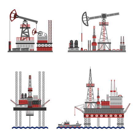 mining ships: Oil extraction and petroleum platform flat icons set isolated vector illustration