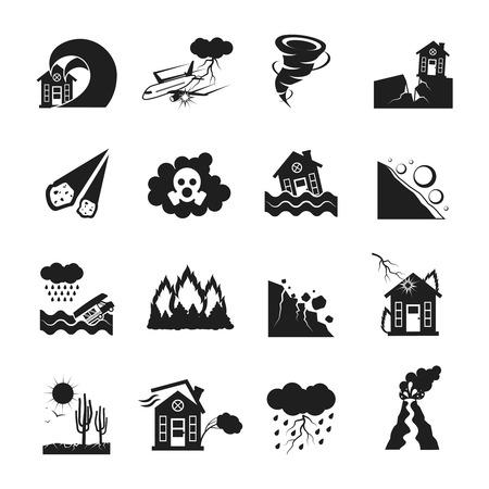 Iconos monocromáticos planas conjunto de diversos tipos de desastres naturales aislados ilustración vectorial