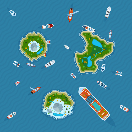 manzara: Çeşitli gemiler ve soyut vektör çizim yukarıdan okyanus manzaralı üç adaların etrafında motorbotun Çizim