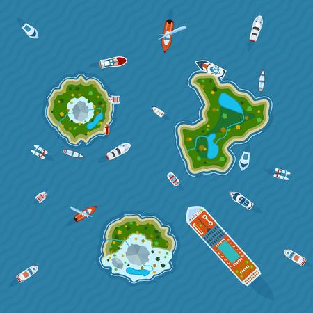 각종 선박과 추상적 인 벡터 일러스트 레이 션 위에서 바다 뷰에있는 세 개의 섬 주위에 모터 보트