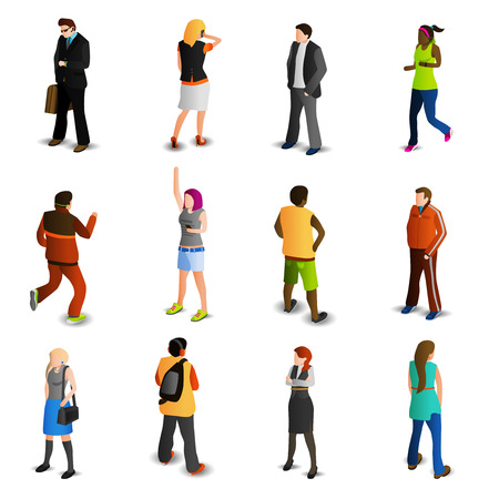 person icon: People isometric icons set with men and women in business and sport isolated vector illustration