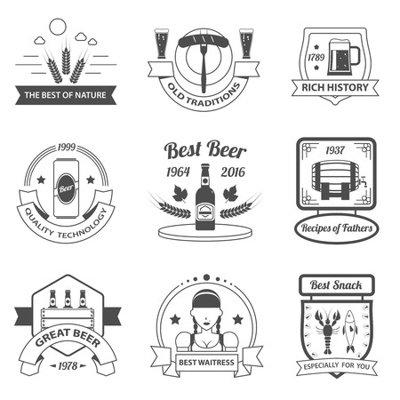 mini bar: Beer festival premium quality black label set isolated vector illustration