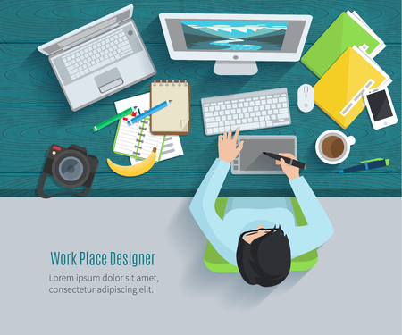 view: Designer workplace flat with top view woman at table and design gadgets vector illustration