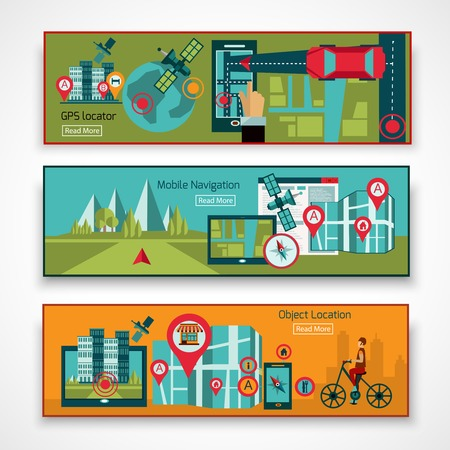 navigation object: GPS navigation horizontal banner set with mobile object location elements isolated vector illustration