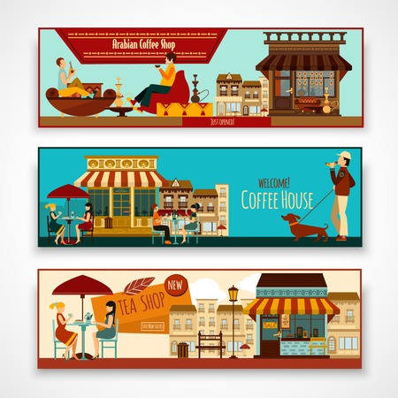 horizontal banner: Shops and cafe facades horizontal banner set isolated vector illustration