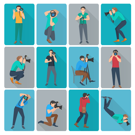 camera phone: Photographer with photo camera in different poses flat avatars icons set isolated vector illustration Illustration