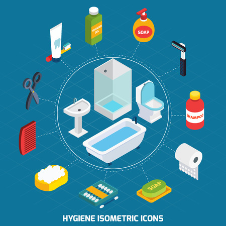toiletry: Hygiene isometric icons set  with bathroom equipment and  toiletries vector illustration Illustration