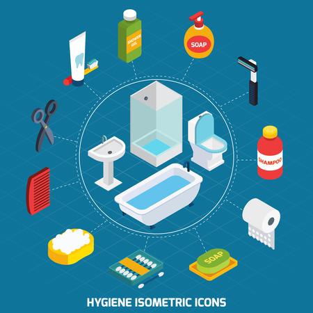 productos de aseo: Iconos isométricos de higiene establecidos con equipamiento de baño y artículos de aseo ilustración vectorial