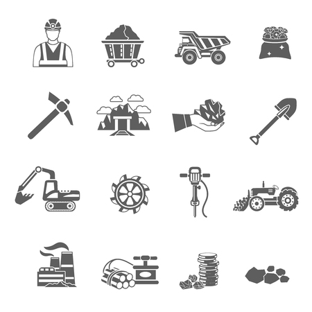 construction equipment: Mining icons black set with worker minerals truck isolated vector illustration