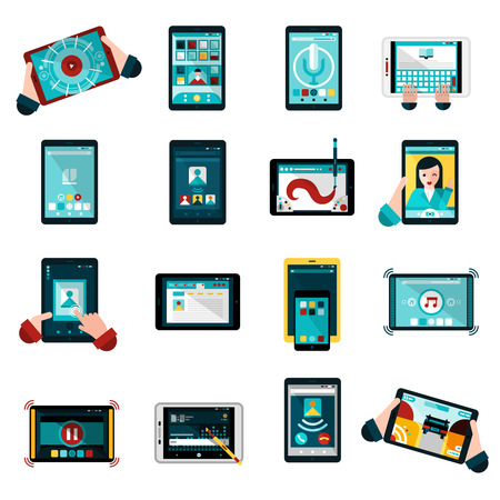 video chat: Phablet icons set with music photos and games flat isolated vector illustration