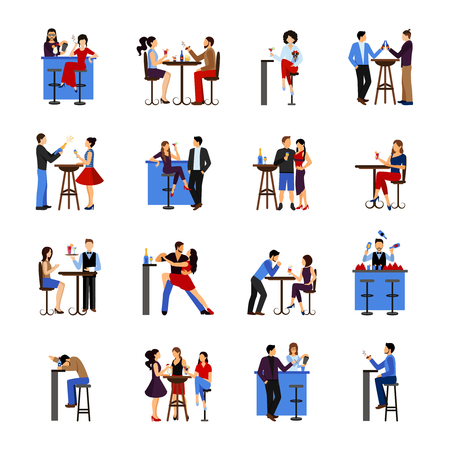 stools: People sitting and drinking in bar flat icons set isolated vector illustration Illustration