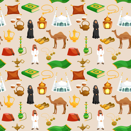 middle eastern food: Arabic culture seamless pattern with camel tea pot mosque cartoon vector illustration