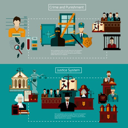 jury: Law horizontal banner set with crime and punishment elements isolated vector illustration
