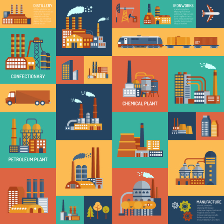 industry concept: Flat color icons set with different types of industrial enterprises and  transport modes vector illustration.