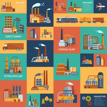 Wohnung-Farbe-Icons mit verschiedenen Arten von Industrieunternehmen und Verkehrsträger Vektor-Illustration festgelegt.