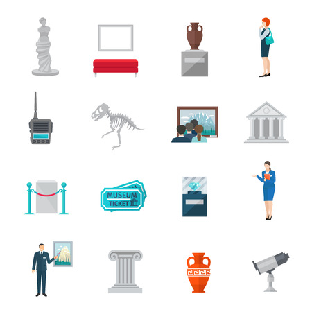 visitors: Museum icon flat set with ticket statue visitors and guides isolated vector illustration